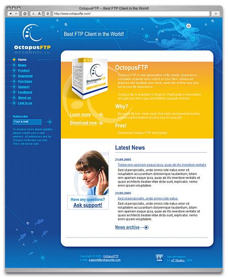 Эскиз стартовой страницы сайта «Octopus-FTP»