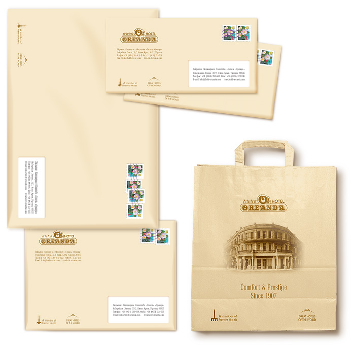 Элементы фирменного стиля. Разнообразные конверты и кропоративные пакеты.