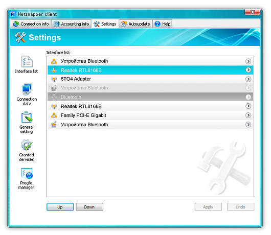 Обновленный внешний вид NetSnapper под ОС Windows Vista
